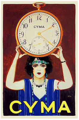"16x20""CANVAS decor.Room Interior Deco art design.Cyma watch clock.7581"