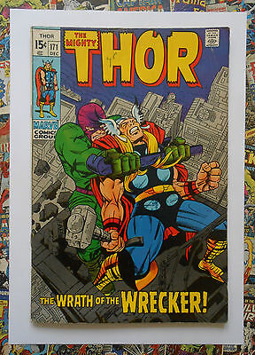Thor #171 - Dec 1969 - The Wrecker Appearance! - Fn+ (6.5) Cents Copy!