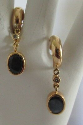 14K Gold Earrings with Sapphire and Diamond Dangles Q19