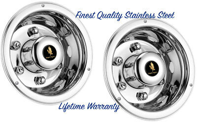 "Trailer 17.5"" Stainless Steel Wheel Covers Hub Caps Simulators For Dual Wheels"