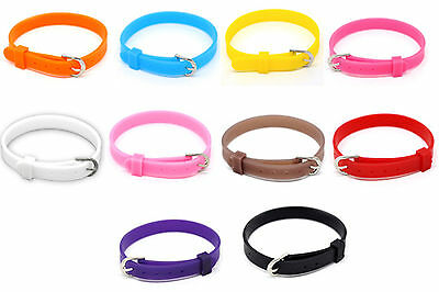 21cm x 8mm silicone adjustable wristband with buckle, choose colour