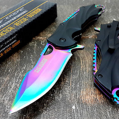 """8"""" TAC FORCE RAINBOW SPRING ASSISTED FOLDING KNIFE Blade Pocket Tactical Open"""