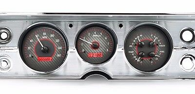 1964 to 1965 Chevelle SS Dakota Digital Carbon Fiber & Red VHX Analog Gauge Kit