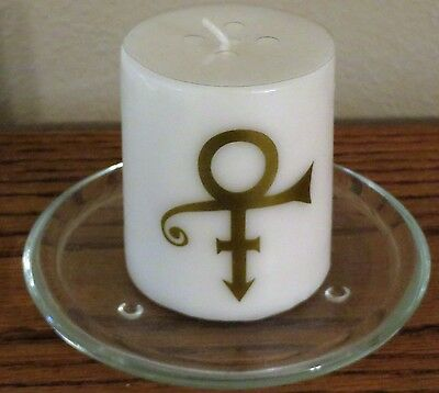 "Prince the Artist - Gold Symbol Pillar Candle 2 3/4"" Tall - Scented !!!"