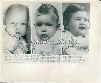 1949 Three Images of Prince Charles' First Year Original Wirephoto