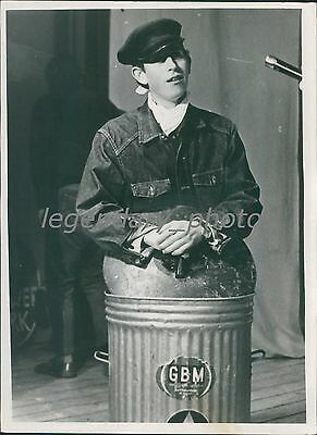 1968 Prince Charles in Dust Bin at Cambridge Original News Service Photo