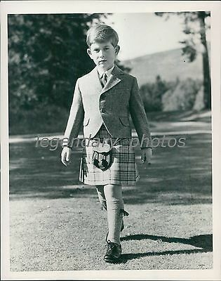 1955 Prince Charles on 7th Birthday in Kilt Original News Service Photo