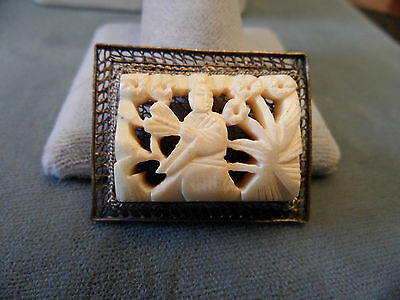 Antique Chinese Export Silver Hand Carved Plaque Pin Brooch