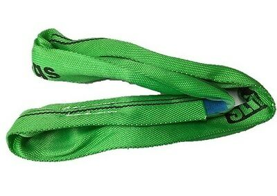 2 Tonne x 500mm Round Lifting Sling Green Polyester Rigging Ton .5mtr