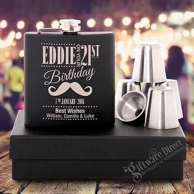 Engraved Birthday Black Hip Flask GIFT SET 18th, 21st, 30th Personalised Present