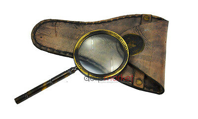 hand magnifying glass with 2X magnification with brass fitting and leather cover