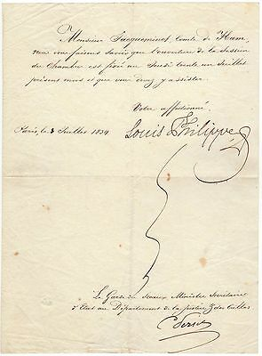 Louis Philippe I. – fine letter signed by the King of France