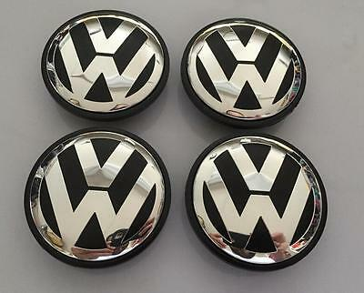 New Volkswagen Vw 65Mm Set Of 4 Black Center Wheel Hub Cap Emblem 3B7601171