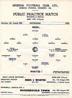 At Arsenal - Public Practice Match 4/8/1951 Reds v. Whites