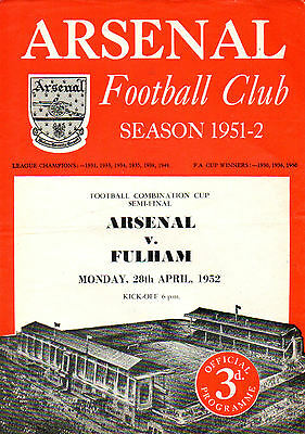 Arsenal v. Fulham 28/4/1952 Football Combination Cup Semi-Final