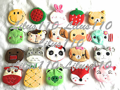 WOMEN/ GIRLS KIDS COIN PURSES ANIMAL ZIP WALLET - SUEDE material OVER 100 styles