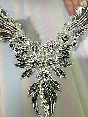 Neckline Rhinestone Diamante Transfer Iron On Hotfix Motif Applique Patch