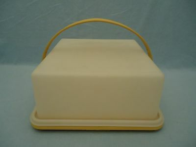 "Vintage Tupperware Harvest Gold 10"" Square Cake Carrier w Handle 3pc Set 1241"