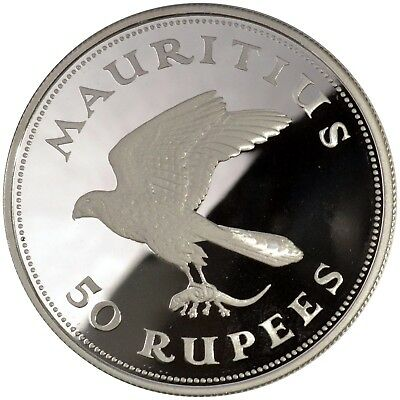 1975 Mauritius 50 Rupees Kestrel Bird Proof Commemorative Silver Coin