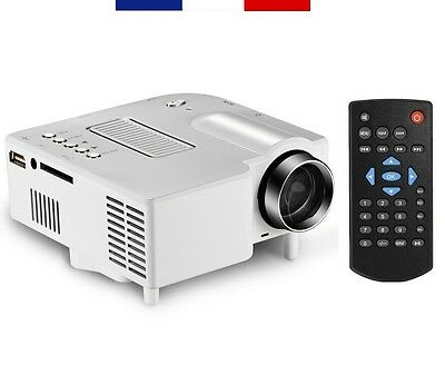 Mini-Projecteur Led Portable Gp5S 320 X 240 Hd 1080P Pc Hdmi Vga Usb Sd (Blanc)