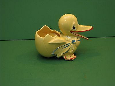 McCoy Pottery duck and egg planter with bow yellow red and blue  1940's