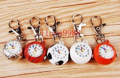 New 10pcs Cute Football basketball Golf ball Style Mixed Key Ring Watches USR85