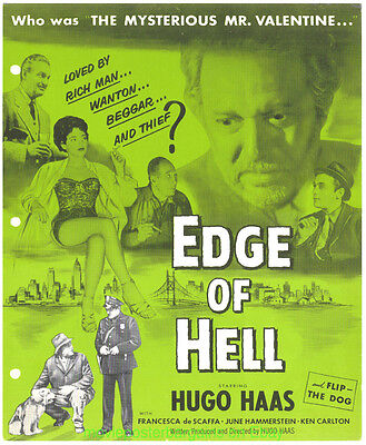 EDGE OF HELL EXHIBITOR SHEET 10x12 Inch MOVIE POSTER ART ON COVER 1956 HUGO HAAS