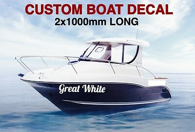 Custom Fishing Boat Name Personalised Stickers Vinyl Decal Marine 1000mm Long x2