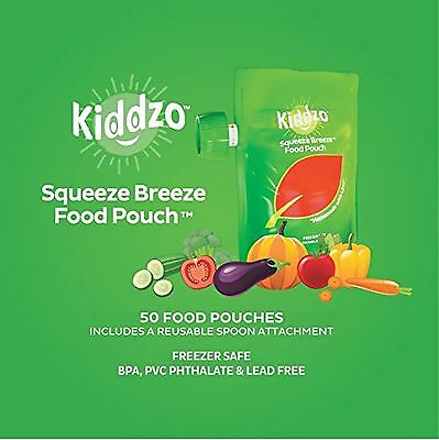 Reusable or Disposable Baby Food Squeeze Pouches 50 Pack with Spoon Attachment.