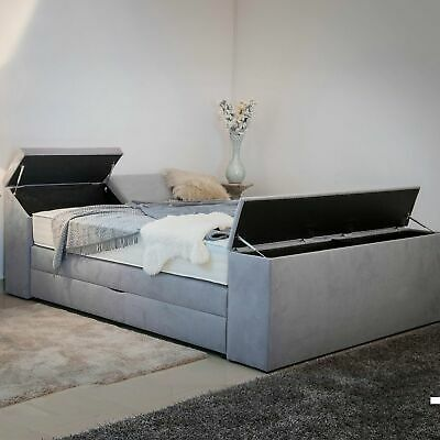 boxspringbett mit bettkasten 5 x stauraum 180x200 farbwahl matratzen h2 h3 h4 eur. Black Bedroom Furniture Sets. Home Design Ideas