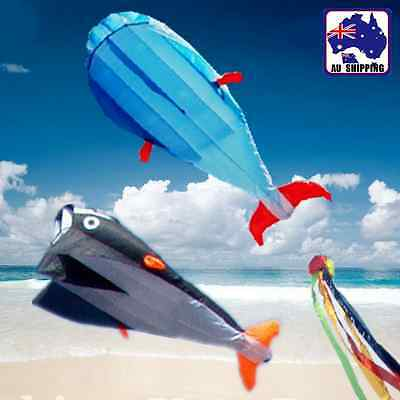3D Blue Black Whale Soft Parafoil Kite Power 120x215cm Line Included OKITE35