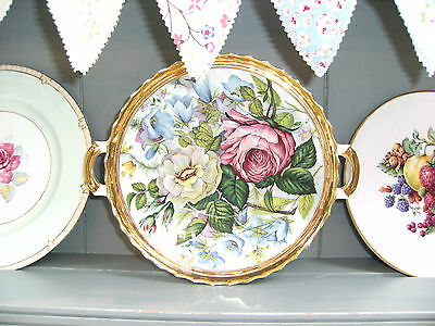 2 Handled Open Vegetable Dish/Bowl Crown Backstamp Stunning Floral Display