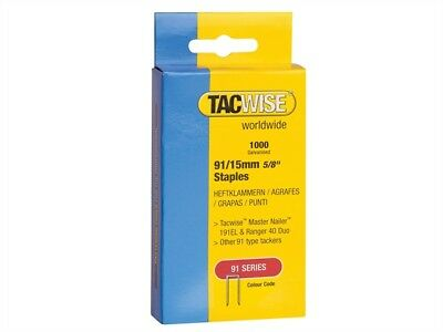 Tacwise TAC0283 91 Narrow Crown Staples 15mm - Electric Tackers Pack 1000