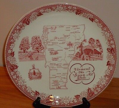 VERMONT The Green Mountain State Plate w/Map  British Anchor England  Vintage