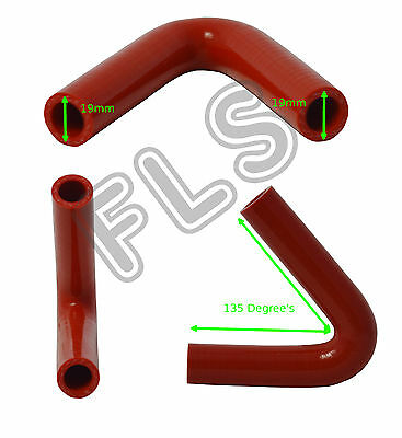 135 DEGREE SILICONE ELBOW PIPE RUBBER/COOLANT/RADIATOR/HOSE Red 19mm-135DH-19-R