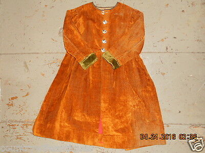 19th CENTURY CHILDS ORANGY BROWN  VELVET COAT MOP BUTTONS TICKING LINING QUALITY