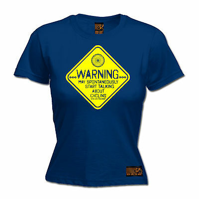Warning May Talk Cycling WOMENS T-SHIRT Cyclist Bike Jersey Funny birthday gift