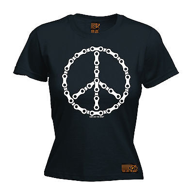 Peace Symbol Bicycle Chain WOMENS T-SHIRT Bike Tee Cycling Funny birthday gift