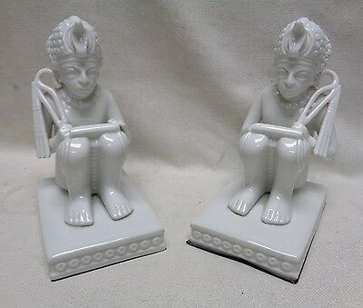 Pair of Decorative Vintage Estate Found Statues of Egyptian Deity Holding Scroll