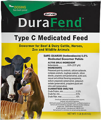 Durafend Type C Medicated Dewormer Feed, No. 001-07966,  by Durvet Inc