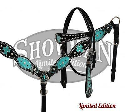 Showman LIMITED EDITION BLACK Leather Headstall and breast collar set! TURQUOISE
