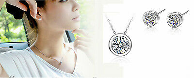 Beautiful 925 Sterling Silver *Dot* 2.5 Cts CZ Jewelry Set: Necklace+Earring