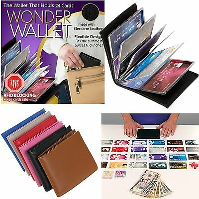 Genuine Leather Wonder Wallet Pouch RFID Slim Credit Card Pocket Purse 6 Colors