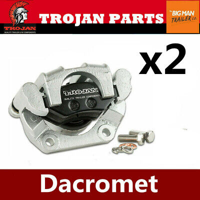2x TROJAN Dacromet Trailer Standard Hydraulic Caliper 89mm Mounting Hole 993481