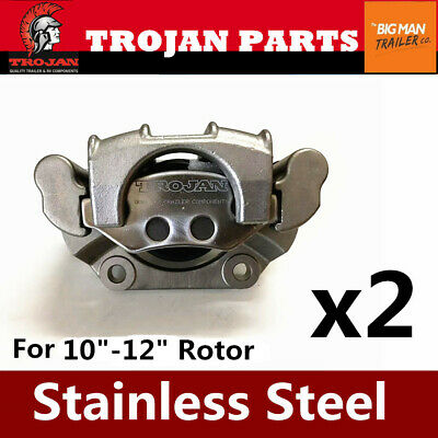 "2x Trojan Trailer Stainless Steel Hydraulic Brake Caliper 10"" 12"" Disc Hub Rotor"