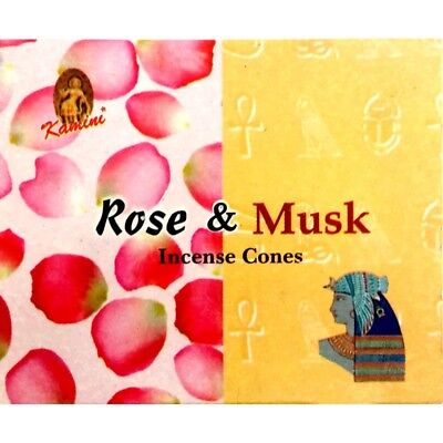 KAMINI Incense Cones ROSE MUSK - 120 CONES + Cone Burners Included FAST POSTAGE