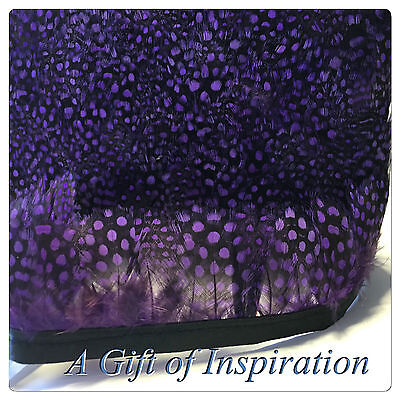 PURPLE Guinea Fowl Feather Fringe Ribbon Trim (price for 30cm) DIY Craft Sewing