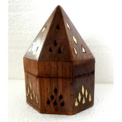 "Wooden Cone Burner - 5"" Pyramid Box Tower Burnt Edges Hand Made Incense Cones"