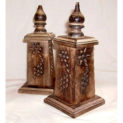 """Wooden Cone Burner 6"""" Tower Burnt Edges Hand Made Incense Cone Holder FAST POST"""