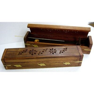 "Wooden Incense Holder Burner Ash Catcher- 10"" Rounded Lid - Hidden Compartment"